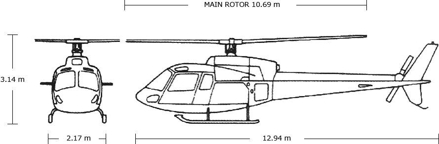AIRBUS HELICOPTERS AS350B3(H125) Body Size